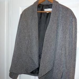 Gray no button open blazer